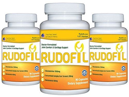 Rudofil Ultra Advanced Joint Relief Supplement - 1500mg Premium Glucosamine, Curcumin from Turmeric Rhizome, and Resveratrol - 3 Month Supply (270 Capsules) by Rudofil