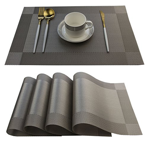 Placemats Easy to Clean Plastic Placemat Washable for Kitchen Table Heat-resistand Woven Vinyl Table Mats 12x18 inches Set of 4 (Grey