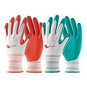 #LightningDeal COOLJOB Gardening Gloves for Women, 6 Pairs Breathable Rubber Coated Garden Gloves, Outdoor Protective Work Gloves Medium Size Fits Most, Red & Green (Half Dozen M)