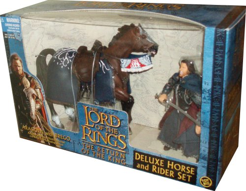 ToyBiz Year 2003 The Lord of the Rings Movie Series The Return of the King Deluxe Horse and Rider Set - Aragorn with Sword-Slashing Action and Brego with Galloping Action