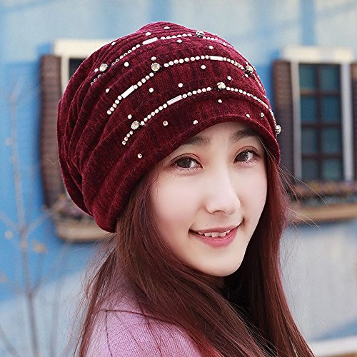 Cap children fall and winter plus lint-free water drilling turban cap reinforcement pile cap head shaved his head cap Baotou,caps are code pregnant women(55-60cm resilient),Wine red