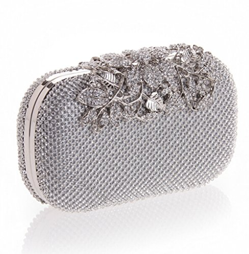 E Bag Purse Clutches TDPAC Evening Crystal Silver Gold Flower Elegant Women rx8nrYwqgP