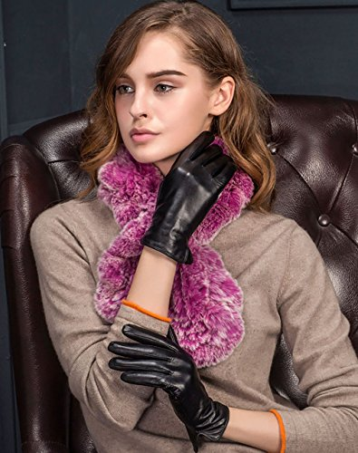 YISEVEN Ladies Winter Touch Screen Lambskin Leather Gloves Warm Lined BLACK