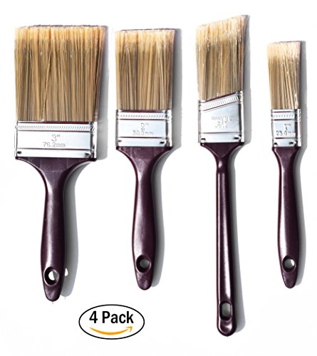 The Shop 1220 flat Paint brushes and cutting brush 4 pack set for acrylic, chalk and oil paints- great for wall and canvas, can be use by artist and painters. Washable Flat Wall Set