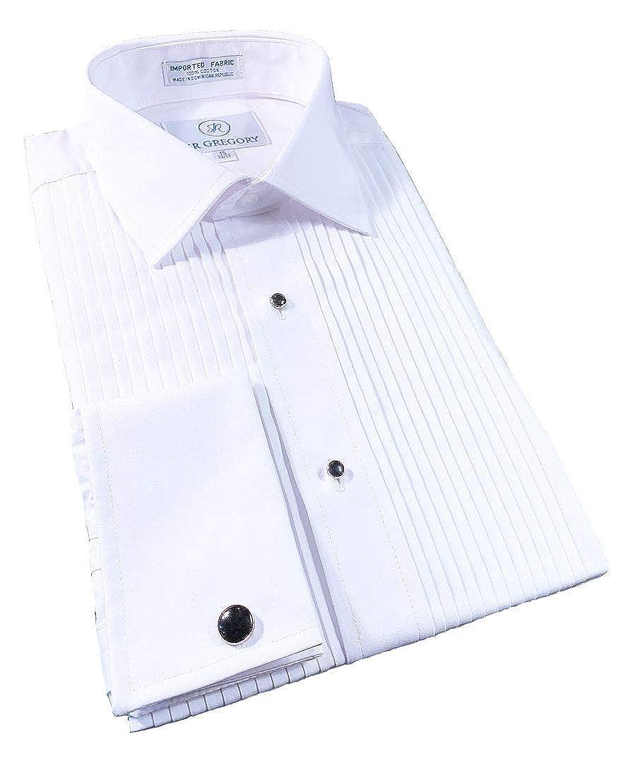 Sir Gregory Mens Regular Fit Tuxedo Shirt 100/% Cotton Laydown Collar French Cuff 1//4 Inch Pleat