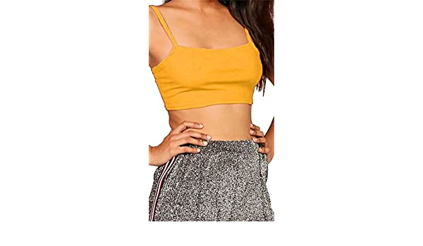 Ladies ribbed square neck cami strappy bandeau boobtube bralet womens crop top