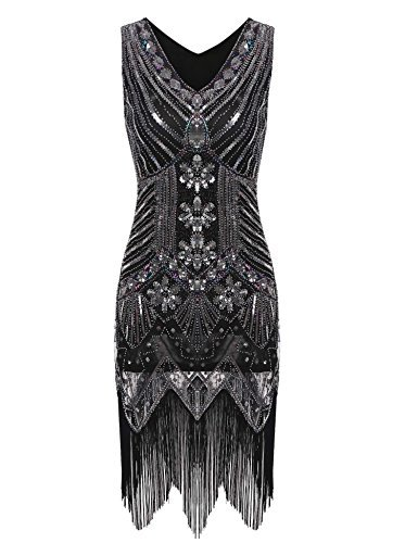 Scalloped Sequin (Bifast Women 1920s Gatsby Sequin Art Deco Scalloped Hem Inspired Flapper Dress)