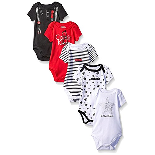 Calvin Klein Baby Boys' Assorted Short Sleeve Bodysuit, Red/Black/Stars, 3-6 Months (Pack Of 5)