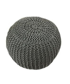 Hogar Decora Puff Trenzado Crochet 40 x 40 x 29 cm Gris ...