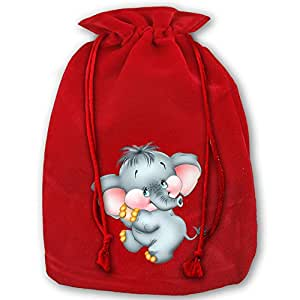 Baby Elephant Red Velvet Drawstring Wedding Party Favors Bags For Christmas Wedding Gifts