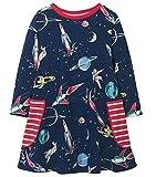 Fiream Girls Cotton Casual Longsleeve Cartoon Dresses (2T/2-3YRS, 7723)