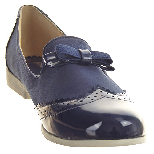 Sopily - Zapatillas de Moda Zapato acento Mocasines Tobillo mujer brillantes Talón Tacón ancho 2 CM - Azul