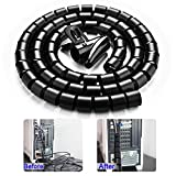 #1: Black Cable Wire Organizer Cord Sleeve Management Cord Hider for Computer, TV, Desk, VIWIEU 5 Feet EZ Cable Sleeve Bundler Flexible & Expandable Home & Office Management Wire Concealer with Clip Tool
