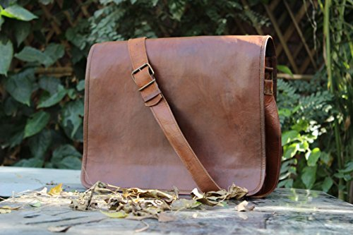 Hlc Real leather messenger laptop bag leather laptop messenger satchel brown leather bag