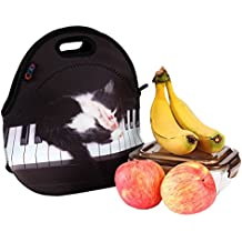 iColor Cute Cat Piano Neoprene Sleeve Boys Girls School Office Travel Outdoor Warm Thermal Waterproof Food Container Tote Pouch Insulated Holder W/ Handle Case Tote Box Carrier Lunch Bag