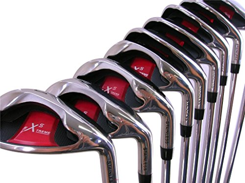 Extreme X5 Wide Sole iBRID Iron Set Senior Men's Complete 8-Piece Iron Set (4-SW) Right Handed Senior Flex A Flex Club with Premium Men's Arthritic Grip