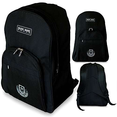 Black Backpack - Elite Body Squad Sports Rucksack - Perfect For Carrying Airport Luggage + Overnight Stays - Can Also Be Used As A Travel, Gym, Weekend Or School Bag - Strong And Stylish With 3 Separate Compartments + 100% Satisfaction Money Back Guarantee