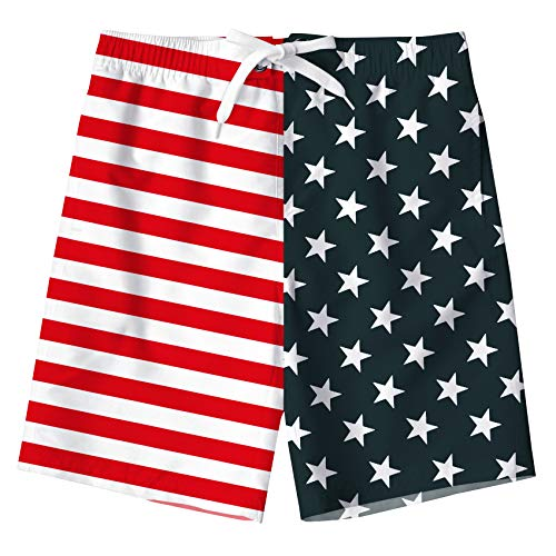 Uideazone Boys Swim Shorts Stars and Stripes American Flag Mesh Lining Swimming Trunk for Summer Beach