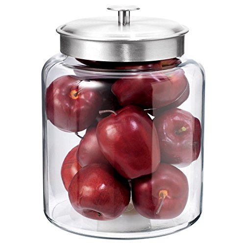 (Anchor Hocking Montana Glass Jar with Fresh Sealed Lid, Brushed Metal, 2 Gallon)