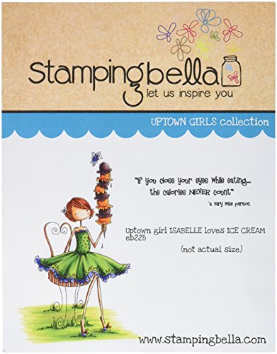 Stamping Bella Uptown Girl Isabelle Loves Ice Cream Cling Rubber Stamp, 6.5 x 4.5