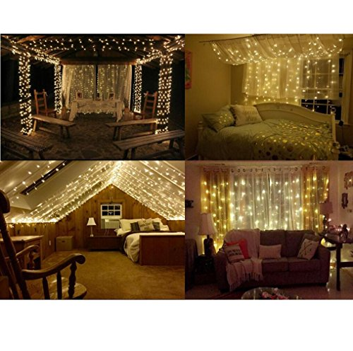 String lights Window Curtain,300 LED Icicle Fairy Twinkle Starry Lights-UL Listed for Indoor and Outdoor, Wedding, Christmas, Home Bedroom Wall Decoration, Party (9.8ftx9.8ft,Warm white) by Brightown (Image #6)