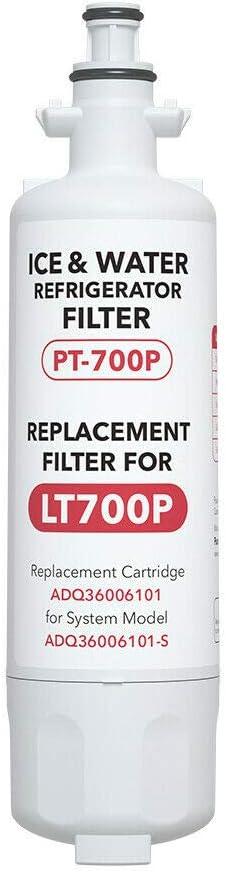 Pursafet LT700P Refrigerator Water Filter, Compatible with LG LT700P, Kenmore 469690, 9690, ADQ36006101, ADQ36006102, LT700PC, LFXC24726D, LFXS29766S, LFXC24726S, LFXS24623S, RWF1200A, NSF Certified