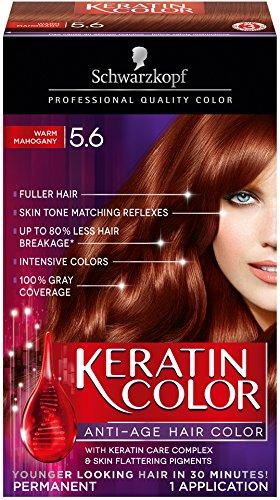 Schwarzkopf Keratin Hair Color, Warm Mahogany 5.6, 6.1 Ounce