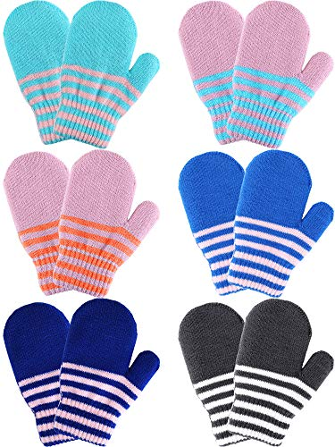 Boao 6 Pairs Stretch Mittens Winter Warm Knitted Gloves for Kids Toddler Supplies (Color Set ()