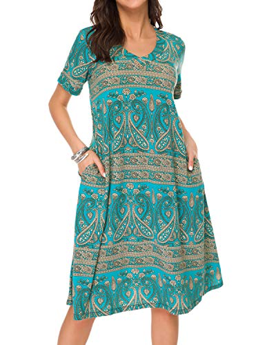 MINTLIMIT Women's Dresses-Summer Paisley Bohemian Short Sleeve Button Swing Midi Dress(Paisley Green,Size L)