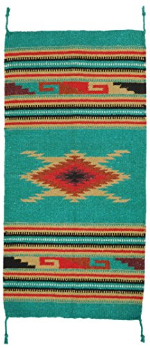 """El Paso Designs Hand Woven Southwest Style Accent Rug, 20"""" X 40"""" (Teal Red Diamond HA-110A)"""