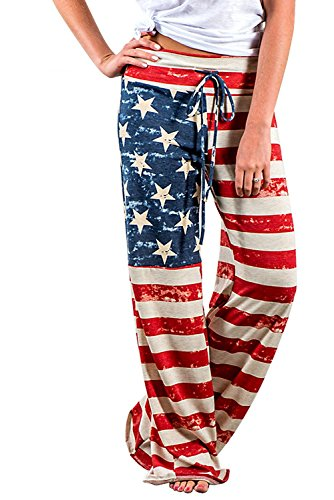 Misses Casual Pants - Wisslotus Womens High Waisted American USA Flag Pants Ladies Wide Leg Drawstring Trousers (L, Picture Color)