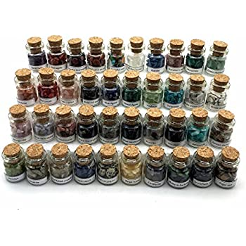 Shangbo 40Mini Gemstone Bottles Tumbled Stones Healing Crystal Reiki Crystal Wishing Bottle Gift.