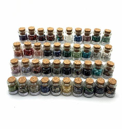 (Shangbo 40Mini Gemstone Bottles Tumbled Stones Healing Crystal Reiki Crystal Wishing Bottle Gift.)