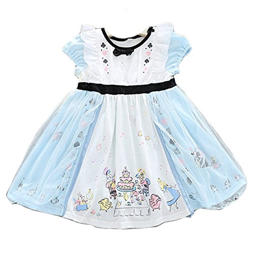 JiaDuo Baby Girls Casual Party Tutu Dress Cotton Princess Costumes Blue,Princess a,120(Age for 4-5Y)