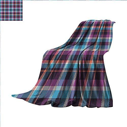 Ghillie Ultralight (Checkered Camping Blanket Celtic Tartan Irish Culture Scotland Country Antique Tradition Tile Summer Blanket 80 x 60 inchViolet Light Blue Salmon)