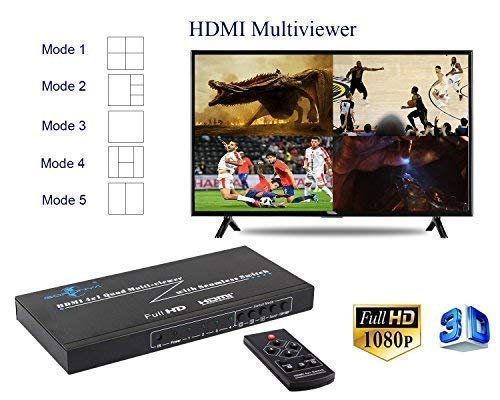 - Goronya HDMI 4X1 Quad Multi-Viewer Splitter with Seamless Switcher IR Control