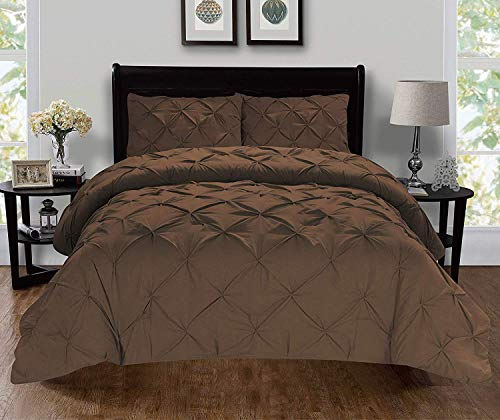 Celine Linen  Luxury Super-Soft Coziest 1500 Thread Count Egyptian Quality 3-Piece Pintuck Design Duvet Cover Set, (Insert Comforter Protector) Wrinkle-Free, King/California King, Chocolate Brown