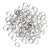 MagiDeal Set of 100 Stainless Steel Split Rings for Fishing Lure Hook Connection Double Loops Linking Circles