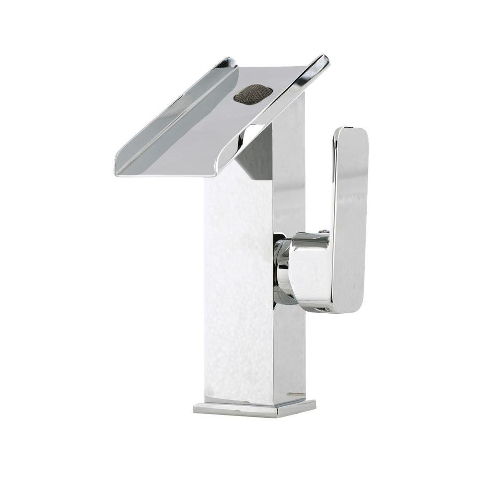 Cerviel Series Single Hole 1-Handle Cascade Waterfall Vessel Bathroom Faucet in Chrome by HTU