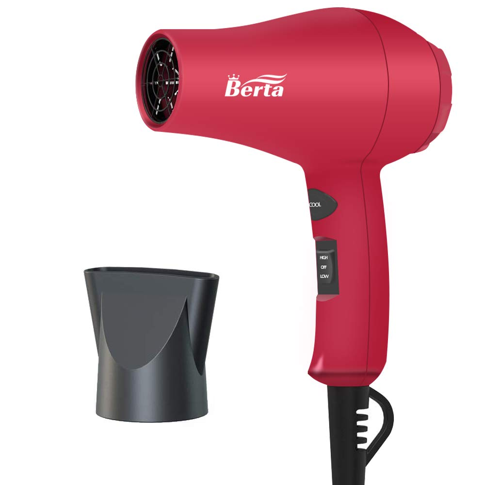 Berta 1000 Watts Compact Hair Dryer, Mini Travel Ionic Ceramic Blow Dryer, Lightweight Low Noise Hair Blow Dryer for Kids (Rose Red)