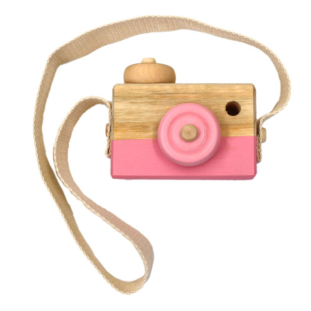 Allure Maek Wooden Mini Camera Toy Pillow Kids' Room Hanging Decor Portable Toy Gift (Blue)
