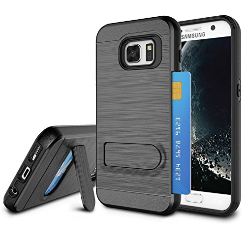 Galaxy S7 Case, S7 Card Holder Cover, Jeylly Black [Metal Satin] Card Holder with Kickstand Hybrid Dual Layer Hard Plastic + Soft TPU Drop Protection Case Cover for Samsung Galaxy S7 G930