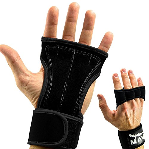 Leather Padding Gloves Cross Training Gloves with Wrist Support for WODs,Gym Workout,Weightlifting & Fitness-Leather Padding, No Calluses-Suits Men & Women-Weight Lifting Gloves for a Strong Grip