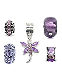 Silver Purple Charms Bead Set of 5 for Pandora Troll Chamilia Style Charm Bracelets Truly Charming