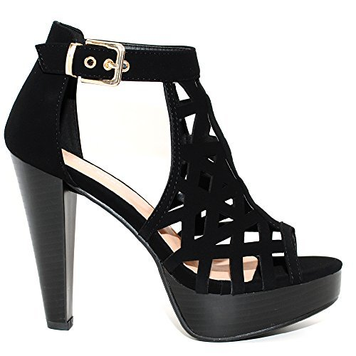 TRENDSup Collection Open Toe Ankle Strap Sandal - Western Bootie Stacked Heel Open Toe Cutout Shoes (6, Black) -