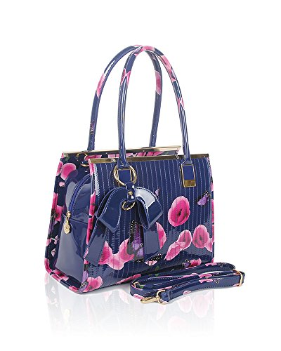 cm 34x25x12 handle Tote Bag Floral Print Ladies Shiny Women Top Handbag Butterfly Patent Shoulder Blue Size a6OpnxwqU