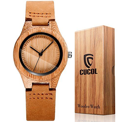 (CUCOL Womens Wooden Bamboo Watches Leather Strap with Gift Box)