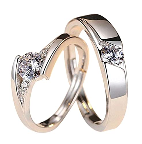 Joyas Houdou 1 par de anillos de compromiso de acero ...