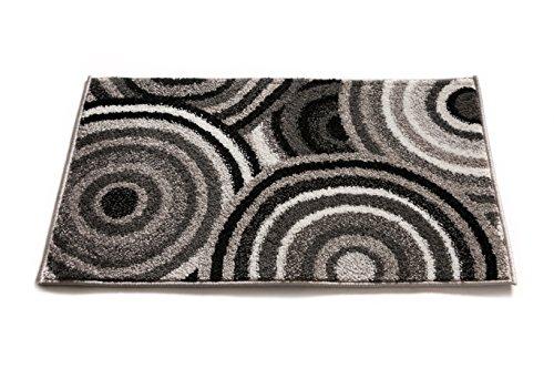 Small Accent (Carey Abstract Grey & Black Modern Geometric Circles 2x3 (20