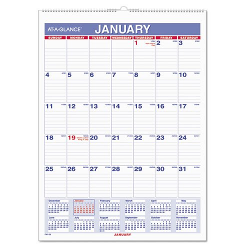 "AT-A-GLANCE Wall Calendar 2017, Monthly, 8 x 11"", Mini-Size, Ruled, Wirebound, Sold As 4 Per Pack (PM1-28) - Bundle: Includes Plexon® Crystal Ballpoint Pen"
